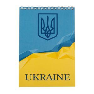 Блокнот на пружине сверху UKRAINE, А-5, 48л., клетка, картонная обложка BUROMAX BM.24545104