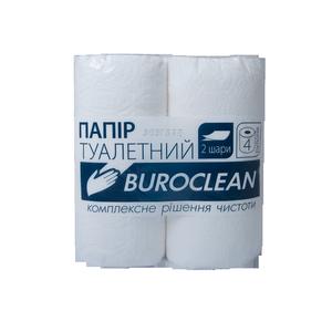 Бумага туалетная белая, 2 слоя, 4 шт, целлюлоза, Buroclean, 10100011