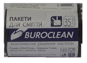 Пакеты для мусора черные, 35 л, 100 шт, BuroClean, 10200021