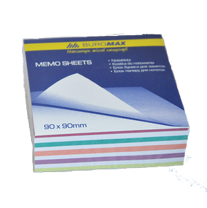 Блок бумаги для заметок Радуга 90х90х30 мм несклеенный Buromax BM.2257