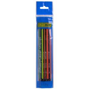 Карандаш графитовый NEON LINE НВ, с ластиком, ассорти, с неоновой полосой, блистер 4 шт., BUROMAX BM.8508-4