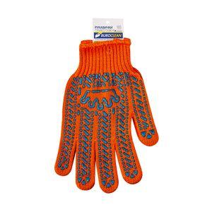 Перчатки EuroStandart оранжевые с ПВХ точкой, 6 нитей, BuroClean, 10200353