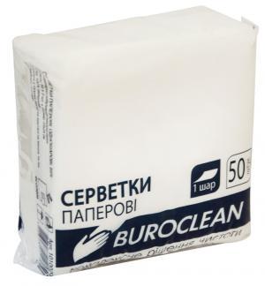 Салфетки бумажные белые, 1 слой, 240х240 см, BuroClean, 101002
