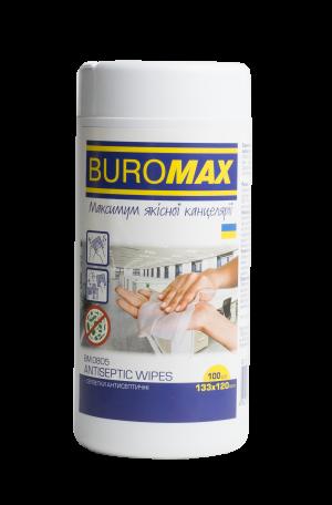 Салфетки антисептические влажные BUROMAX BM.0805 100шт в пластиковой тубе